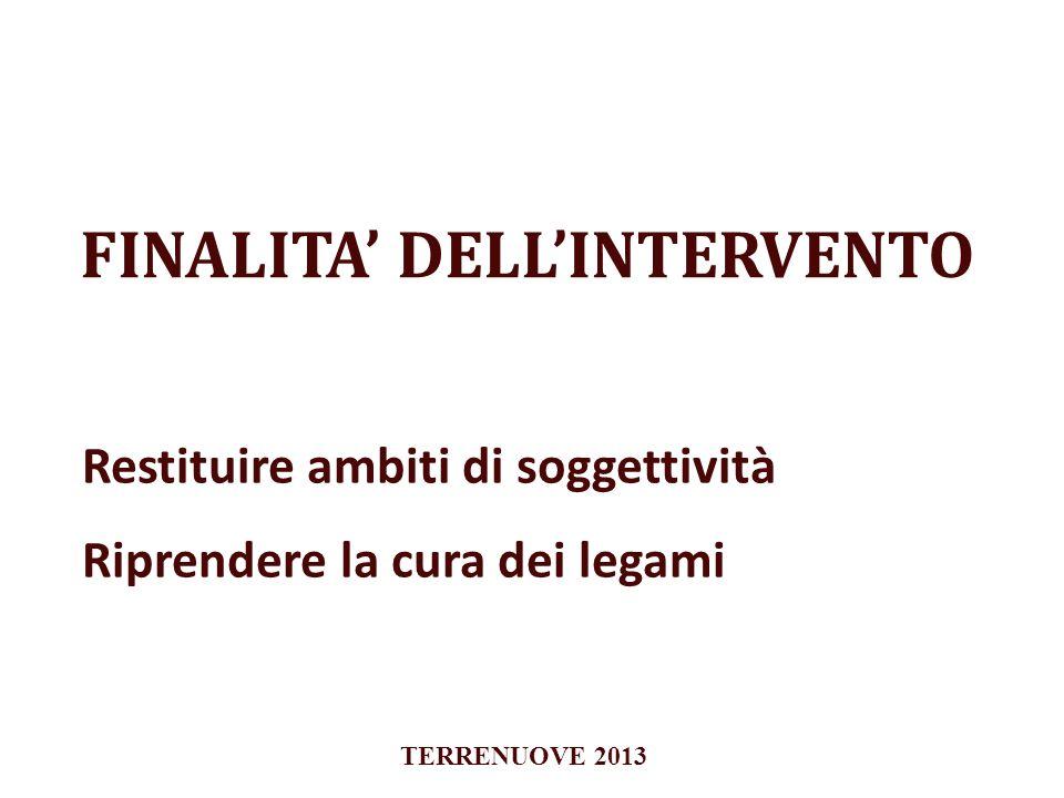 FINALITA DELLINTERVENTO Restituire ambiti di soggettività Riprendere la cura dei legami TERRENUOVE 2013