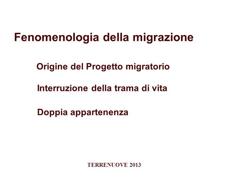 Fenomenologia della migrazione Interruzione della trama di vita Origine del Progetto migratorio Doppia appartenenza TERRENUOVE 2013