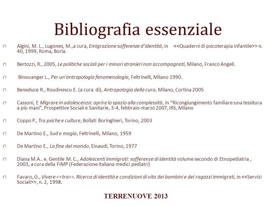 Bibliografia essenziale Algini, M. L., Lugones, M.,a cura, Emigrazione sofferenze didentità, in > n. 40, 1999, Roma, Borla. Bertozzi, R., 2005, Le pol