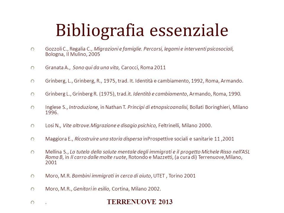 Bibliografia essenziale Gozzoli C., Regalia C., Migrazioni e famiglie. Percorsi, legami e interventi psicosociali, Bologna, Il Mulino, 2005 Granata A.
