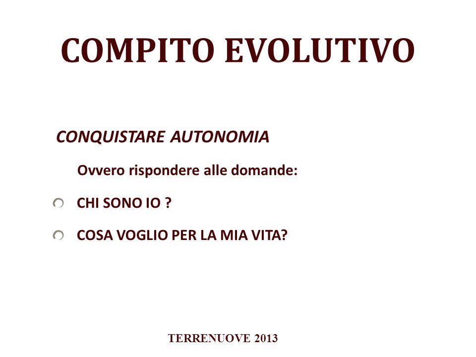 COMPITO EVOLUTIVO CONQUISTARE AUTONOMIA Ovvero rispondere alle domande: CHI SONO IO ? COSA VOGLIO PER LA MIA VITA? TERRENUOVE 2013