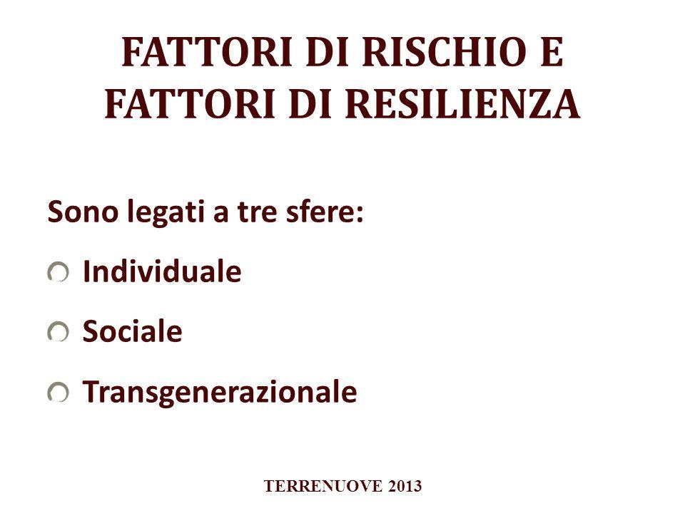 FATTORI DI RISCHIO E FATTORI DI RESILIENZA Sono legati a tre sfere: Individuale Sociale Transgenerazionale TERRENUOVE 2013