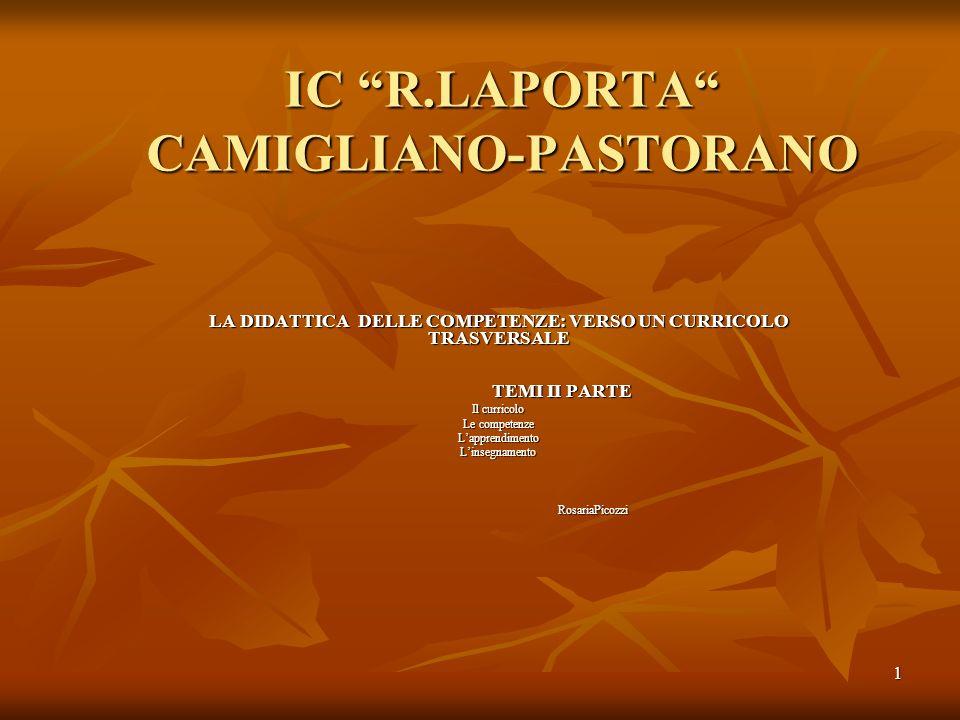 1 IC R.LAPORTA CAMIGLIANO-PASTORANO LA DIDATTICA DELLE COMPETENZE: VERSO UN CURRICOLO TRASVERSALE TEMI II PARTE TEMI II PARTE Il curricolo Le competen