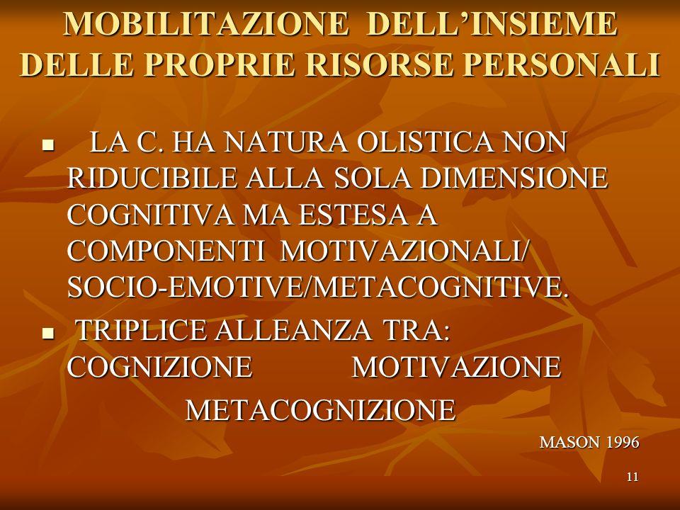 11 MOBILITAZIONE DELLINSIEME DELLE PROPRIE RISORSE PERSONALI LA C. HA NATURA OLISTICA NON RIDUCIBILE ALLA SOLA DIMENSIONE COGNITIVA MA ESTESA A COMPON