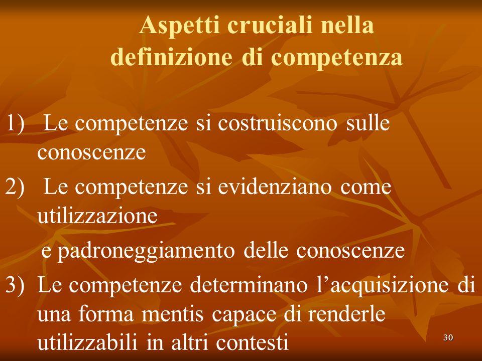 30 Aspetti cruciali nella definizione di competenza 1) Le competenze si costruiscono sulle conoscenze 2) Le competenze si evidenziano come utilizzazio