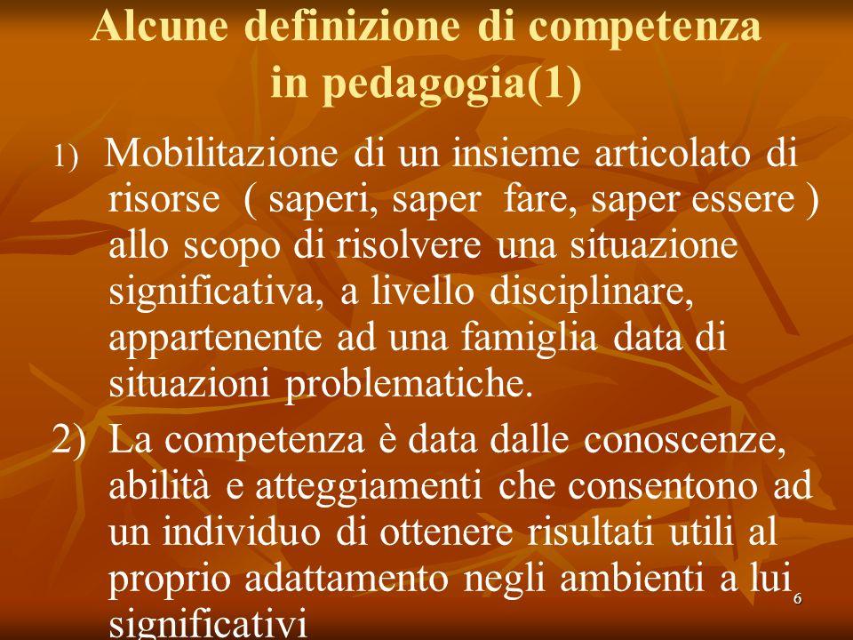 6 Alcune definizione di competenza in pedagogia(1) 1) Mobilitazione di un insieme articolato di risorse ( saperi, saper fare, saper essere ) allo scop