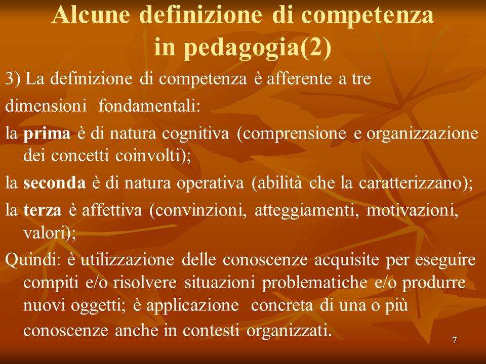 7 Alcune definizione di competenza in pedagogia(2) 3) La definizione di competenza è afferente a tre dimensioni fondamentali: la prima è di natura cog