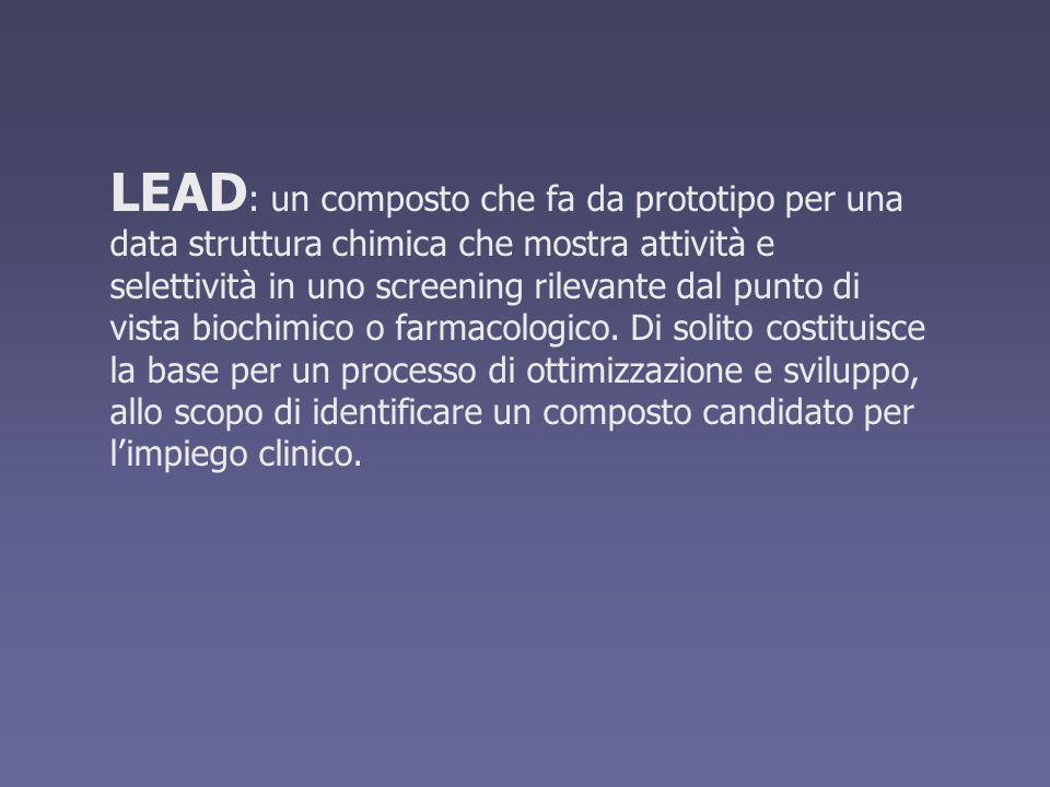 LEAD : un composto che fa da prototipo per una data struttura chimica che mostra attività e selettività in uno screening rilevante dal punto di vista