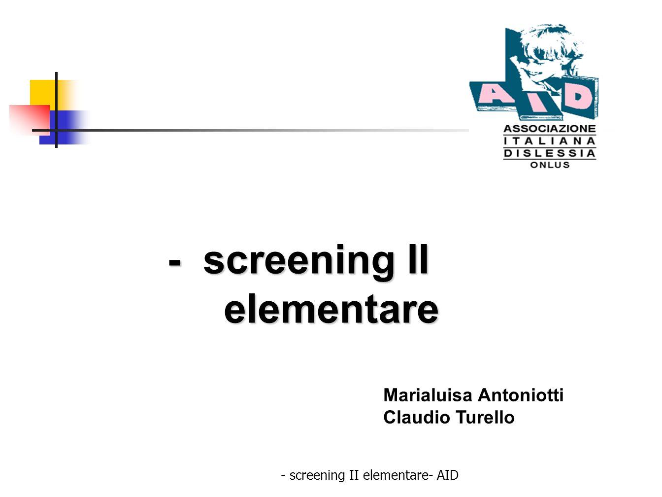 - screening II elementare- AID Una buona comprensione dipende da: Il contenuto del testo e le sue caratteristiche La complessità della struttura linguistica: a) morfosintattica b) lessicale Le competenze individuali a) competenze linguistiche b) capacità cognitive c) capacità logiche d) memoria ( MBT,MLT, Memoria di lavoro) e) attenzione ( sostenuta, selettiva, alternata, divisa)