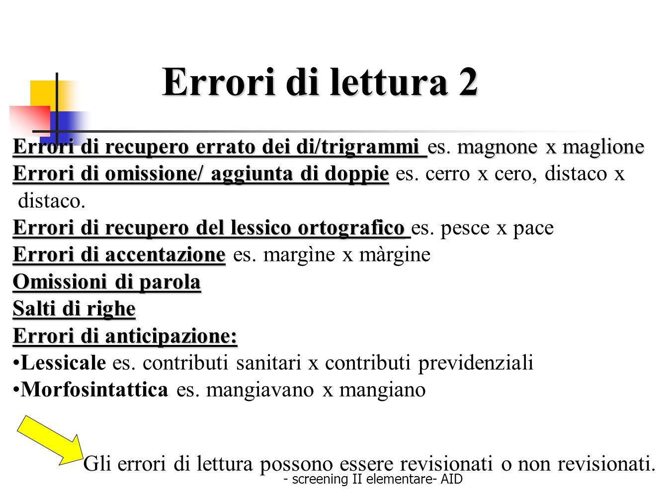- screening II elementare- AID Errori di lettura 2 Errori di recupero errato dei di/trigrammi esmagnone x maglione Errori di recupero errato dei di/tr