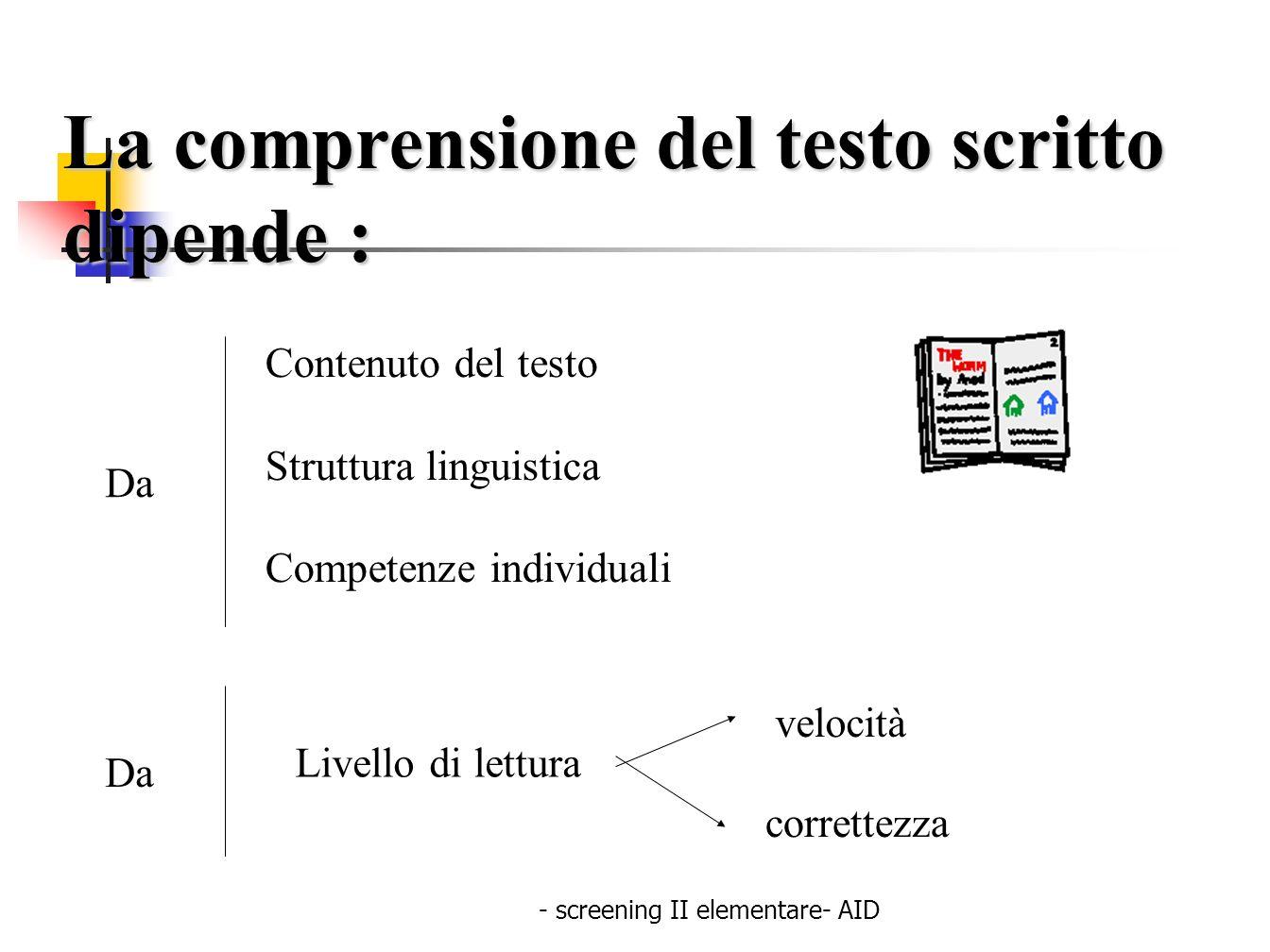 - screening II elementare- AID La comprensione del testo scritto dipende : Da Contenuto del testo Struttura linguistica Competenze individuali Da Live