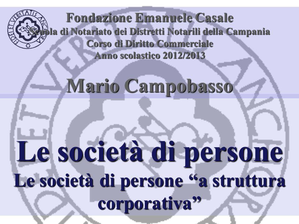 Organizzazione delle società di persone A struttura personalistica A struttura corporativa Standardizzazione delle quote Organizzazione corporativa Principio maggioritario Libera circolazione delle quote