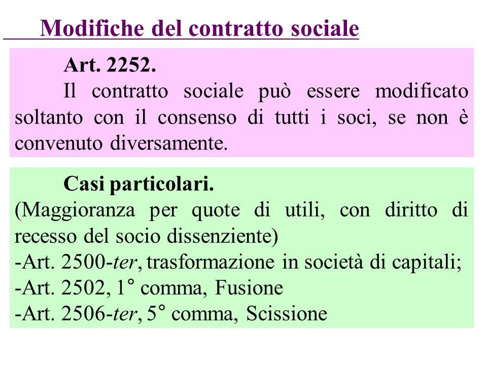 Art. 2252. Il contratto sociale può essere modificato soltanto con il consenso di tutti i soci, se non è convenuto diversamente. Modifiche del contrat