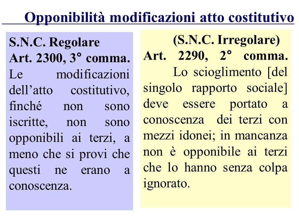 (S.N.C. Irregolare) Art. 2290, 2° comma. Lo scioglimento [del singolo rapporto sociale] deve essere portato a conoscenza dei terzi con mezzi idonei; i