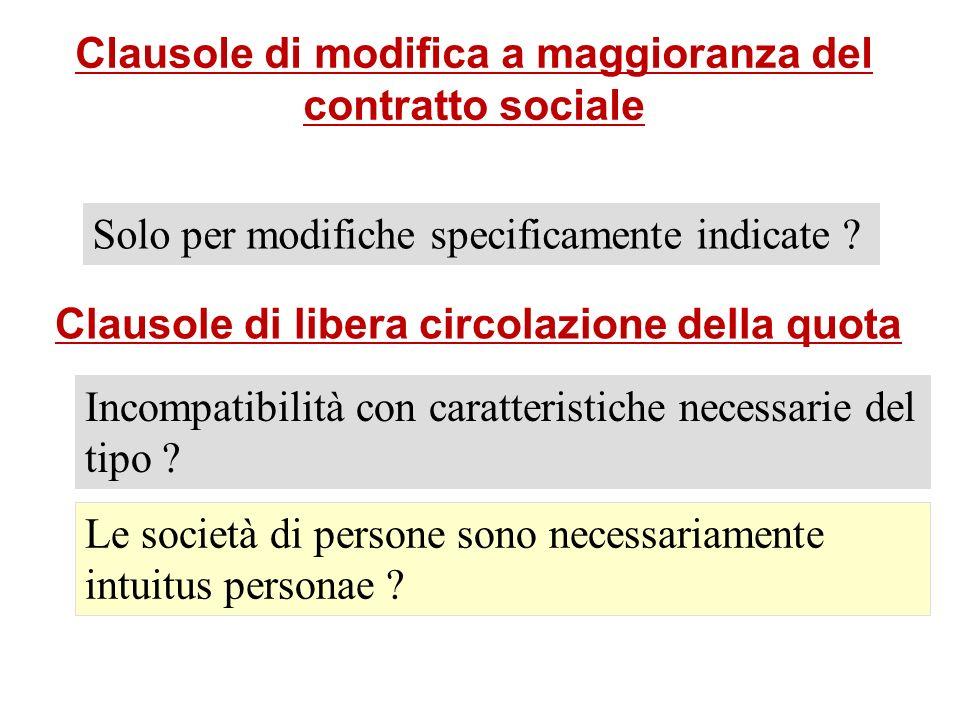 Clausole di modifica a maggioranza del contratto sociale Solo per modifiche specificamente indicate ? Clausole di libera circolazione della quota Inco