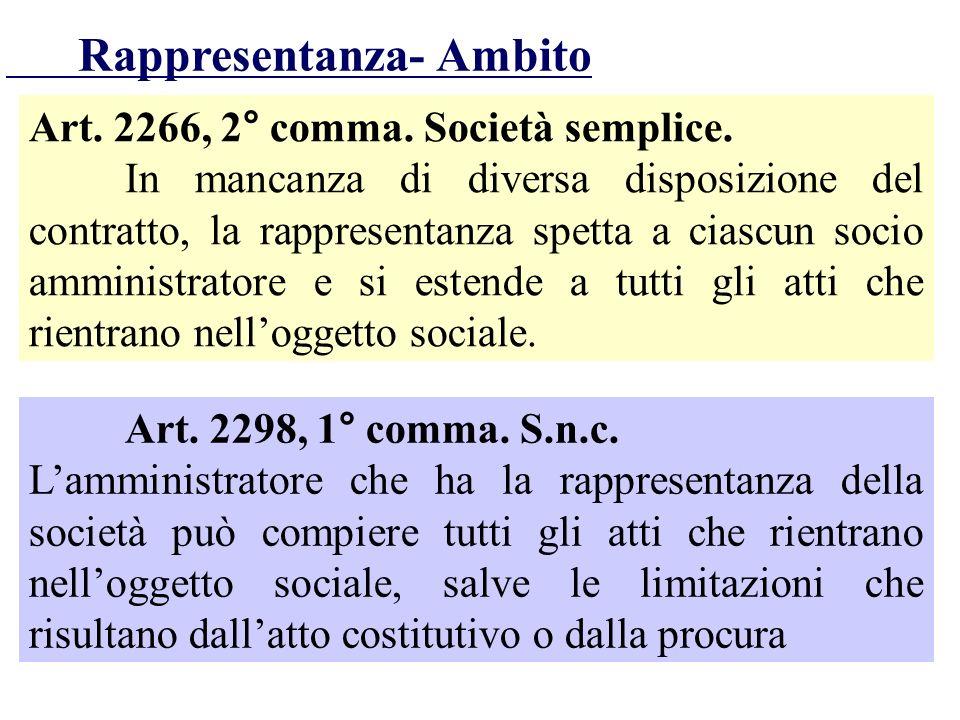 Art. 2266, 2° comma. Società semplice. In mancanza di diversa disposizione del contratto, la rappresentanza spetta a ciascun socio amministratore e si