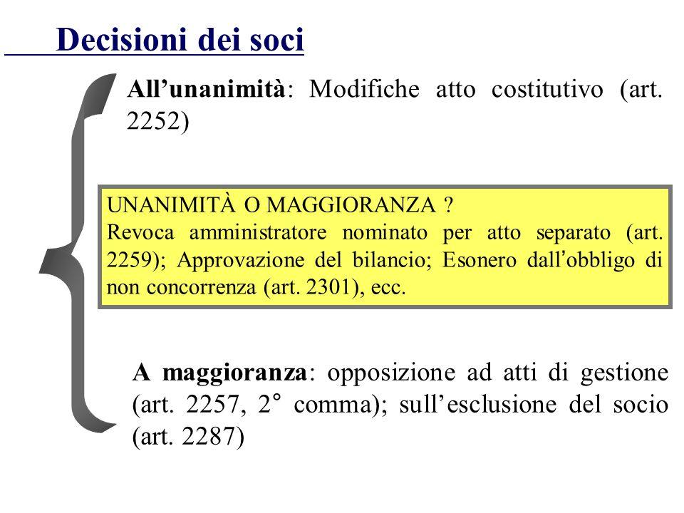 Decisioni dei soci Allunanimità: Modifiche atto costitutivo (art. 2252) UNANIMITÀ O MAGGIORANZA ? Revoca amministratore nominato per atto separato (ar