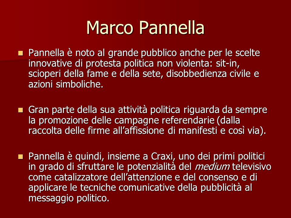 Marco Pannella Pannella è noto al grande pubblico anche per le scelte innovative di protesta politica non violenta: sit-in, scioperi della fame e dell