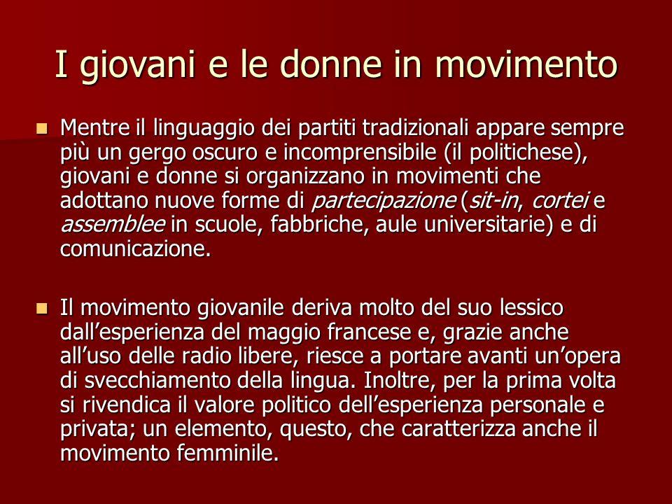 I giovani e le donne in movimento Al movimento femminista si deve la diffusione dei concetti di una cultura della differenza e dellalterità rispetto alla guerra e al potere maschile.