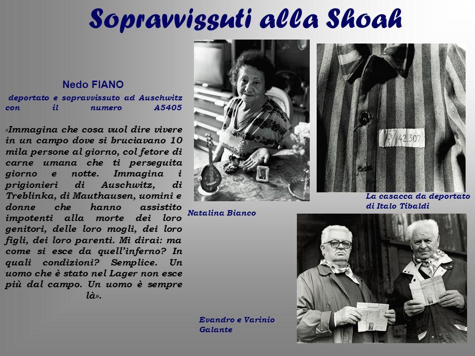 Sopravvissuti alla Shoah Evandro e Varinio Galante Natalina Bianco La casacca da deportato di Italo Tibaldi Nedo FIANO deportato e sopravvissuto ad Au