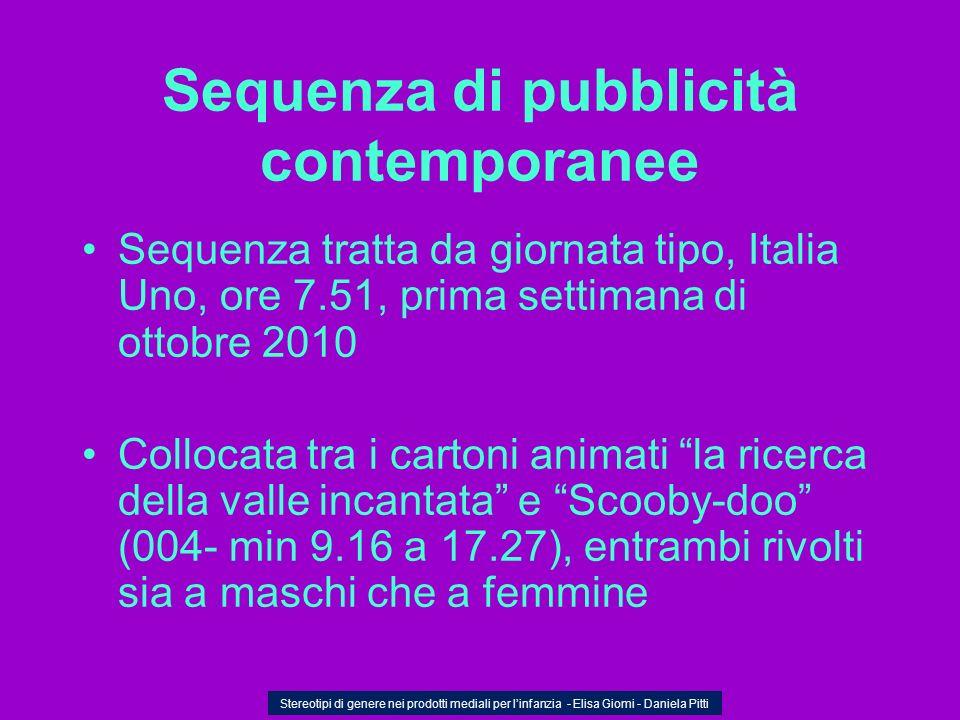 Sequenza di pubblicità contemporanee Sequenza tratta da giornata tipo, Italia Uno, ore 7.51, prima settimana di ottobre 2010 Collocata tra i cartoni a