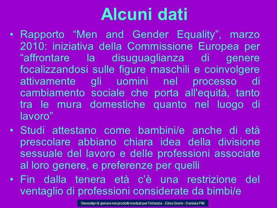 Alcuni dati Rapporto Men and Gender Equality, marzo 2010: iniziativa della Commissione Europea peraffrontare la disuguaglianza di genere focalizzandos