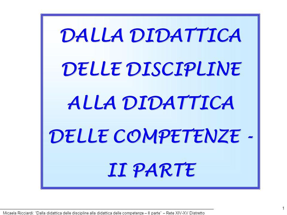 Micaela Ricciardi: Dalla didattica delle discipline alla didattica delle competenze – II parte – Rete XIV-XV Distretto 1