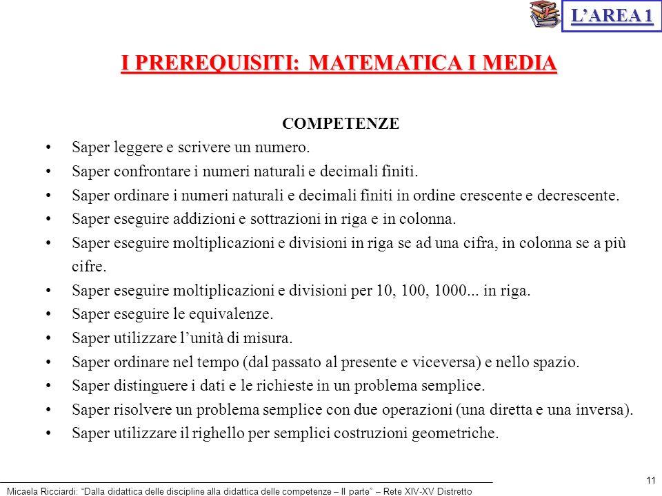 Micaela Ricciardi: Dalla didattica delle discipline alla didattica delle competenze – II parte – Rete XIV-XV Distretto 11 LAREA 1 COMPETENZE Saper leg