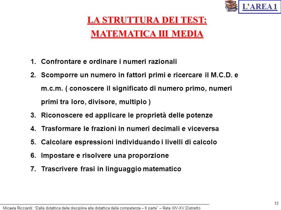 Micaela Ricciardi: Dalla didattica delle discipline alla didattica delle competenze – II parte – Rete XIV-XV Distretto 13 LA STRUTTURA DEI TEST: MATEM