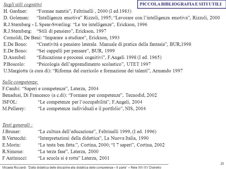 Micaela Ricciardi: Dalla didattica delle discipline alla didattica delle competenze – II parte – Rete XIV-XV Distretto 25 Sugli stili cognitivi H. Gar