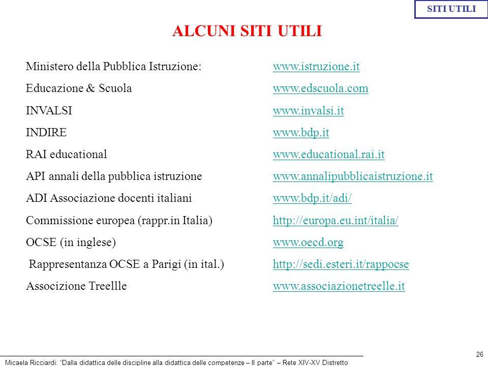 Micaela Ricciardi: Dalla didattica delle discipline alla didattica delle competenze – II parte – Rete XIV-XV Distretto 26 Ministero della Pubblica Ist