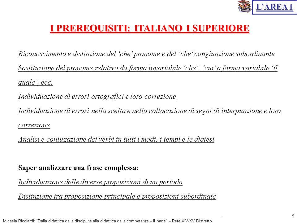 Micaela Ricciardi: Dalla didattica delle discipline alla didattica delle competenze – II parte – Rete XIV-XV Distretto 9 Riconoscimento e distinzione