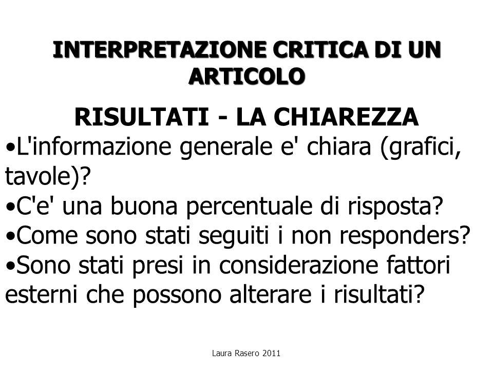 Laura Rasero 2011 INTERPRETAZIONE CRITICA DI UN ARTICOLO RISULTATI - LA CHIAREZZA L'informazione generale e' chiara (grafici, tavole)? C'e' una buona