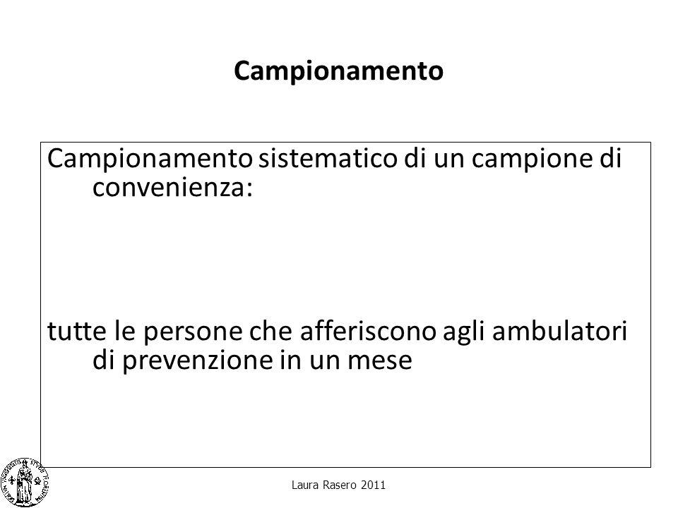 Campionamento Campionamento sistematico di un campione di convenienza: tutte le persone che afferiscono agli ambulatori di prevenzione in un mese Laur