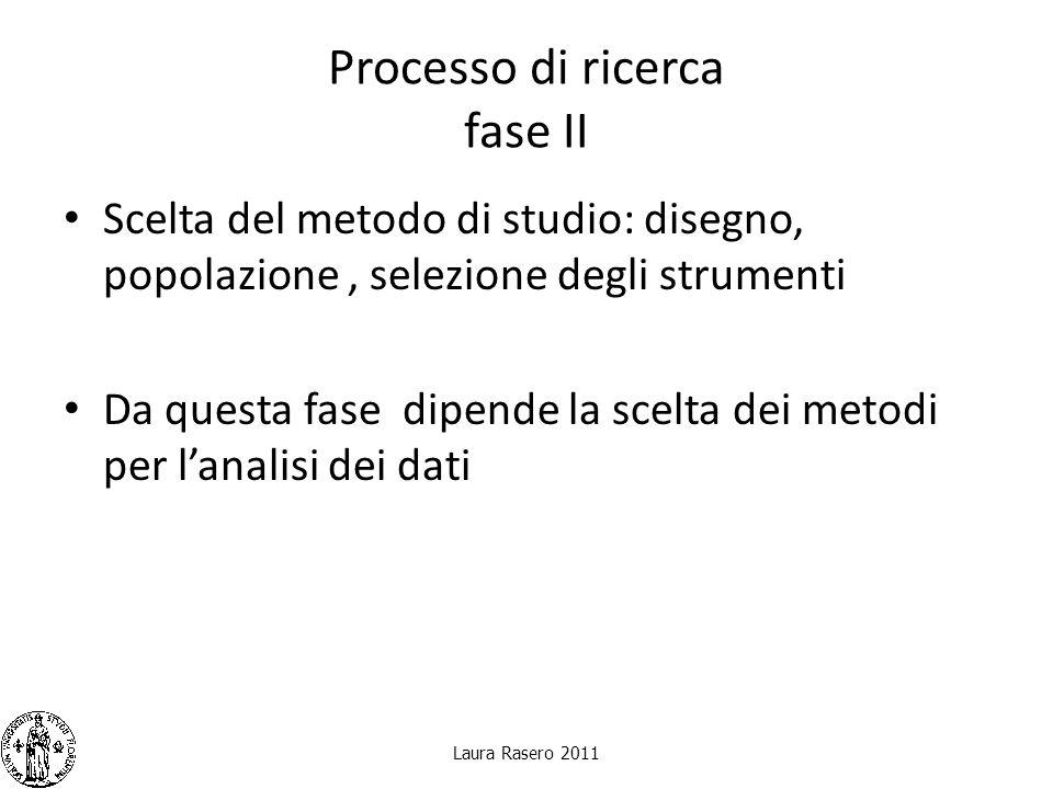 Processo di ricerca fase II Scelta del metodo di studio: disegno, popolazione, selezione degli strumenti Da questa fase dipende la scelta dei metodi p