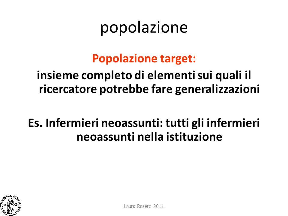 popolazione Popolazione target: insieme completo di elementi sui quali il ricercatore potrebbe fare generalizzazioni Es. Infermieri neoassunti: tutti