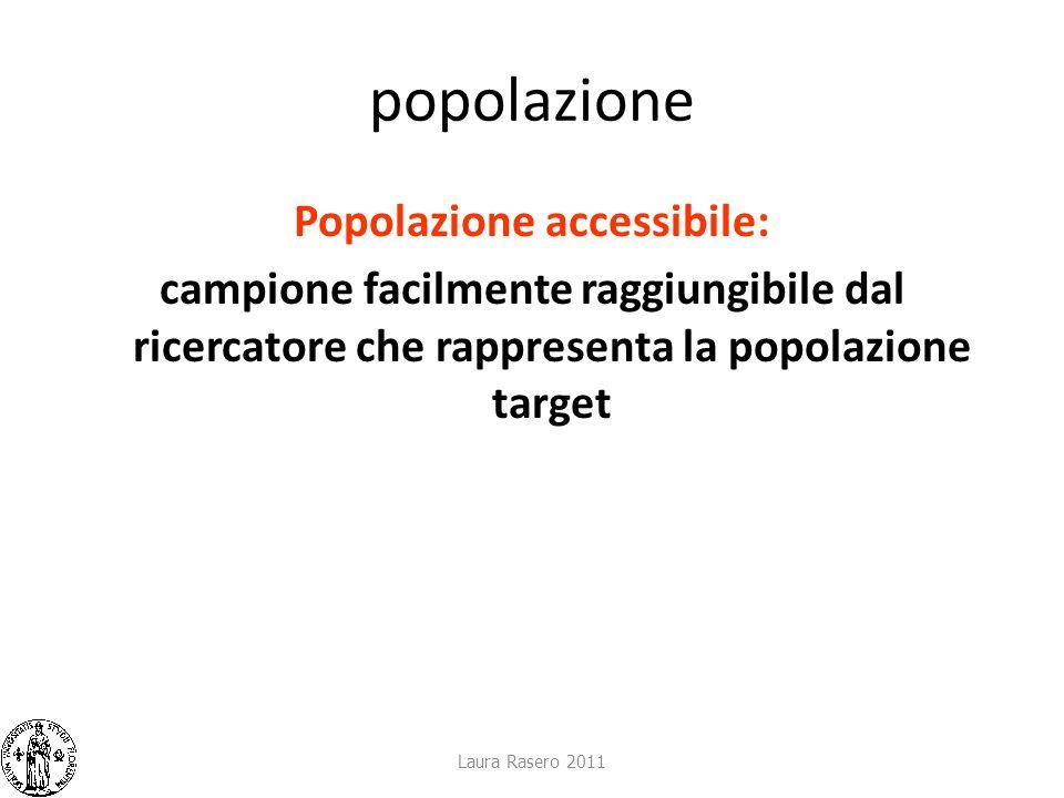 popolazione Popolazione accessibile: campione facilmente raggiungibile dal ricercatore che rappresenta la popolazione target Laura Rasero 2011