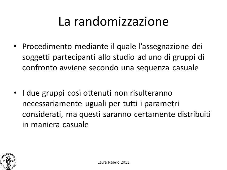La randomizzazione Procedimento mediante il quale lassegnazione dei soggetti partecipanti allo studio ad uno di gruppi di confronto avviene secondo un