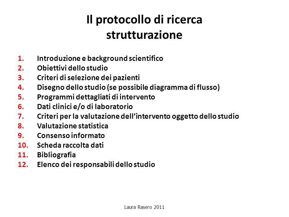 Il protocollo di ricerca strutturazione 1.Introduzione e background scientifico 2.Obiettivi dello studio 3.Criteri di selezione dei pazienti 4.Disegno