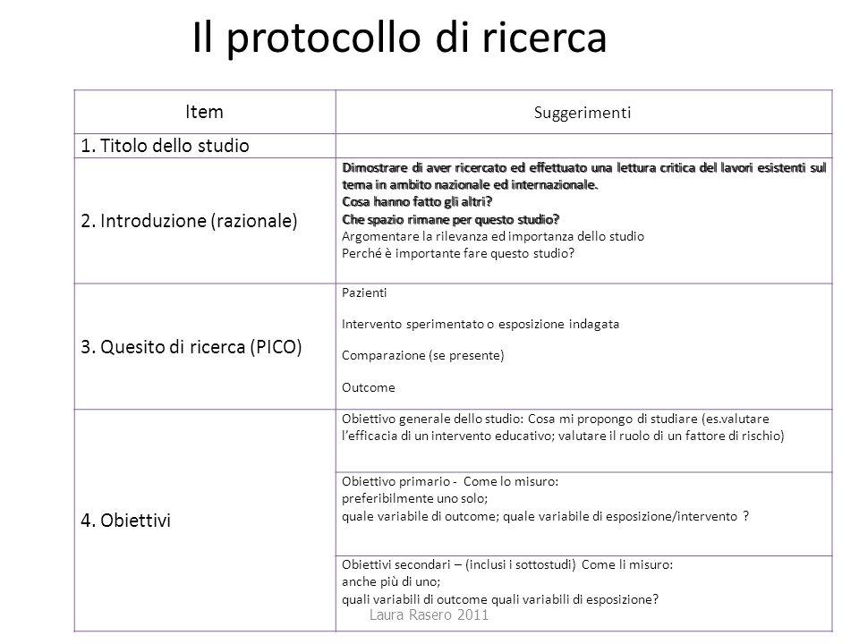 Laura Rasero 2011 Il protocollo di ricerca ItemSuggerimenti 1. Titolo dello studio 2. Introduzione (razionale) Dimostrare di aver ricercato ed effettu