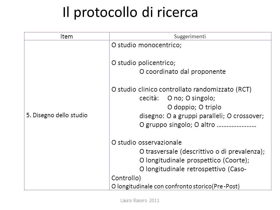 Laura Rasero 2011 Il protocollo di ricerca ItemSuggerimenti 5. Disegno dello studio O studio monocentrico; O studio policentrico; O coordinato dal pro