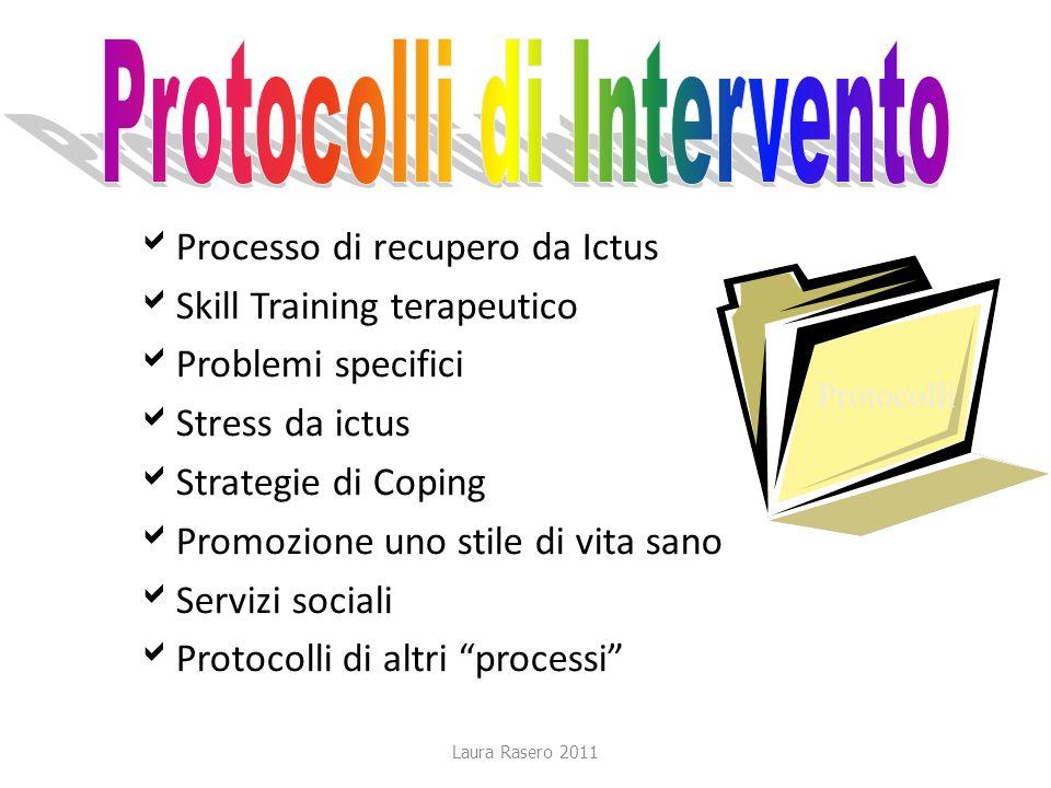 Laura Rasero 2011 Processo di recupero da Ictus Skill Training terapeutico Problemi specifici Stress da ictus Strategie di Coping Promozione uno stile