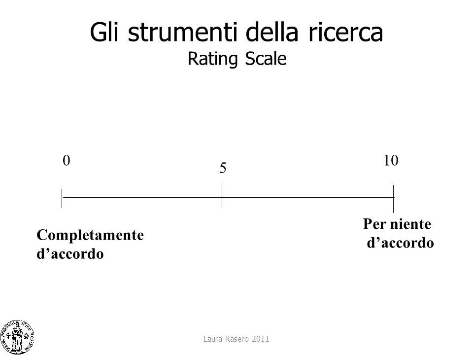 Laura Rasero 2011 Gli strumenti della ricerca Rating Scale Completamente daccordo 0 5 10 Per niente daccordo