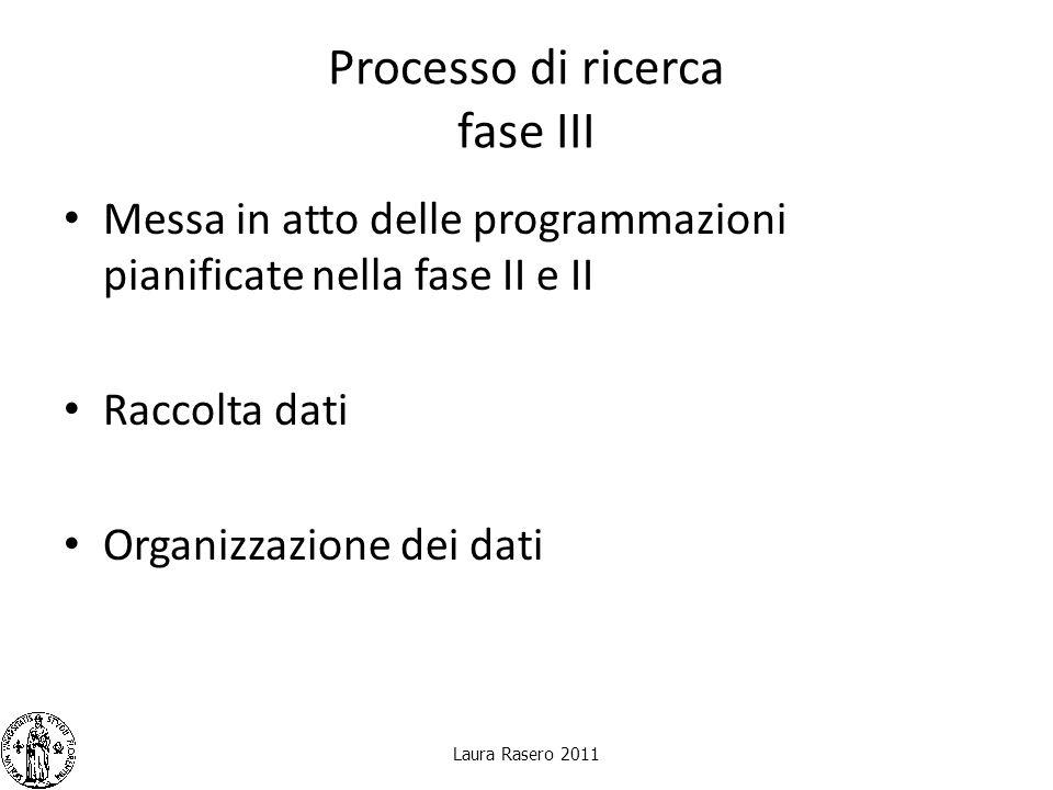 Processo di ricerca fase III Messa in atto delle programmazioni pianificate nella fase II e II Raccolta dati Organizzazione dei dati Laura Rasero 2011