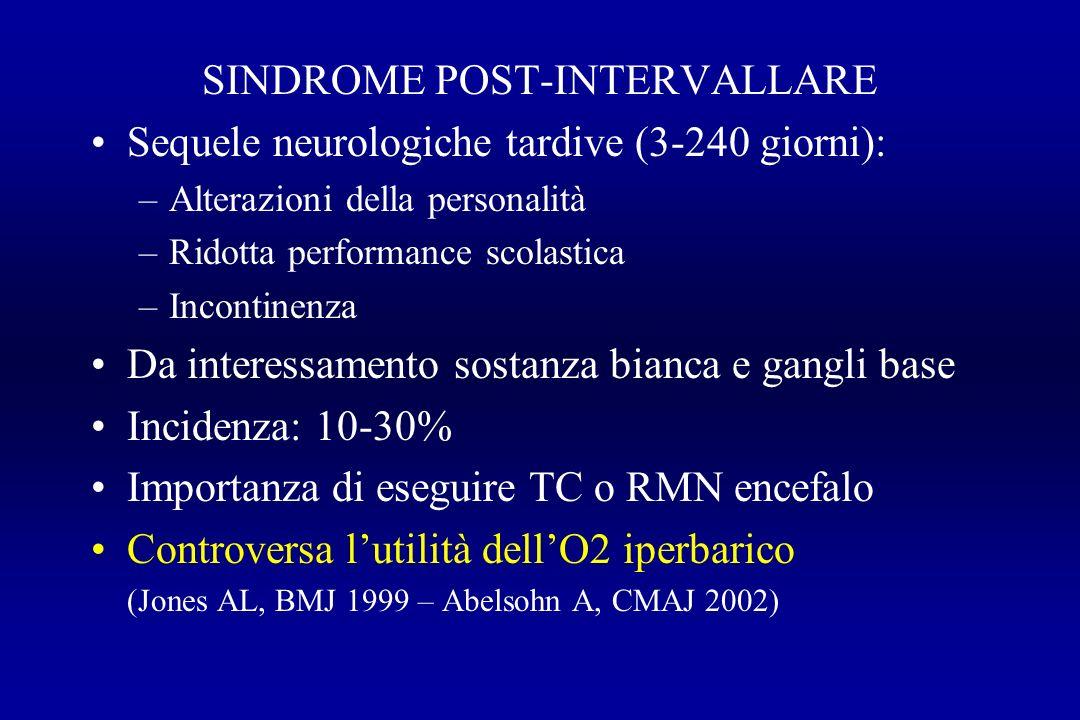 SINDROME POST-INTERVALLARE Sequele neurologiche tardive (3-240 giorni): –Alterazioni della personalità –Ridotta performance scolastica –Incontinenza D