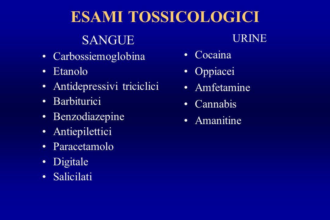 ESAMI TOSSICOLOGICI SANGUE Carbossiemoglobina Etanolo Antidepressivi triciclici Barbiturici Benzodiazepine Antiepilettici Paracetamolo Digitale Salici