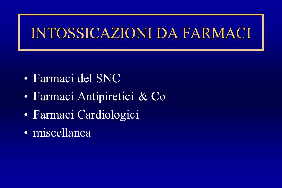 INTOSSICAZIONI DA FARMACI Farmaci del SNC Farmaci Antipiretici & Co Farmaci Cardiologici miscellanea