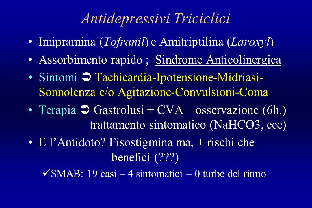Antidepressivi Triciclici Imipramina (Tofranil) e Amitriptilina (Laroxyl) Assorbimento rapido ; Sindrome Anticolinergica Sintomi Tachicardia-Ipotensio