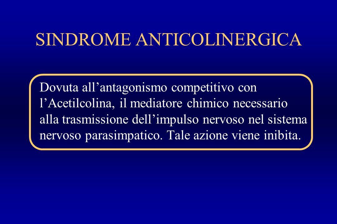 SINDROME ANTICOLINERGICA Dovuta allantagonismo competitivo con lAcetilcolina, il mediatore chimico necessario alla trasmissione dellimpulso nervoso ne