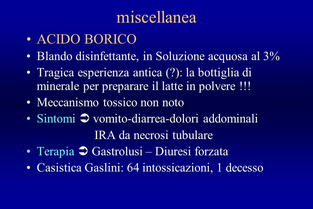 miscellanea ACIDO BORICO Blando disinfettante, in Soluzione acquosa al 3% Tragica esperienza antica (?): la bottiglia di minerale per preparare il lat